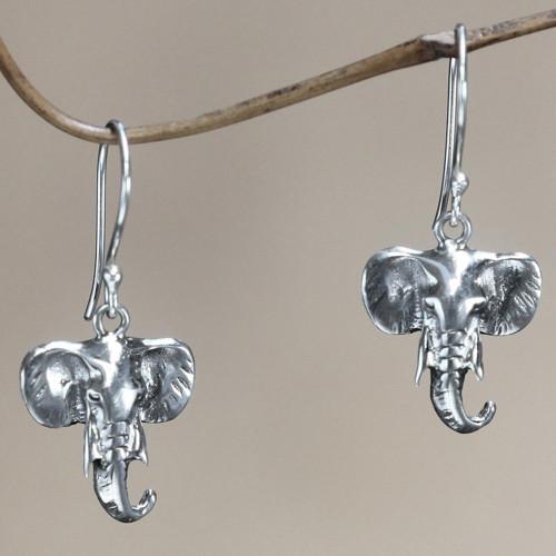 Sterling silver dangle earrings 'Balinese Elephants'