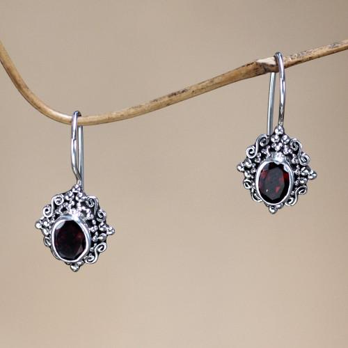 Fair Trade Garnet and Sterling Silver Drop Earrings 'Balinese Elegance'