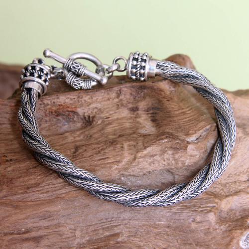 Men's Handcrafted Sterling Silver Torsade Bracelet 'Naga Twist'