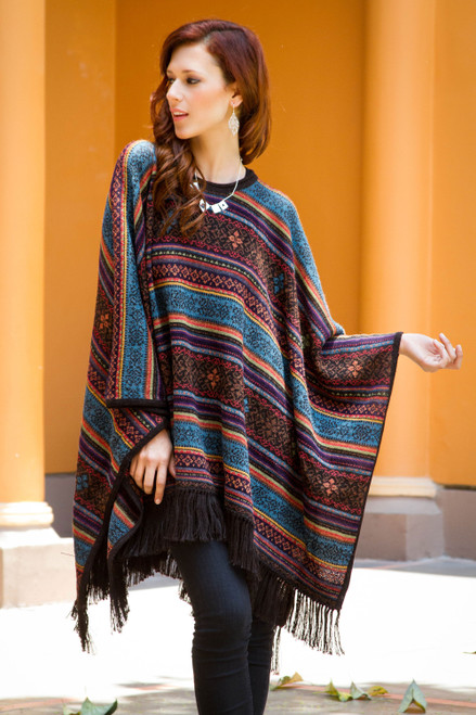 Andean Multicolor Alpaca Wool Poncho 'Life Celebration'