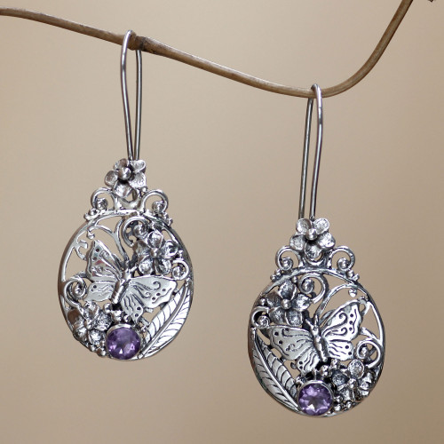 Floral Sterling Silver Dangle Earrings 'Butterflies and Frangipani'