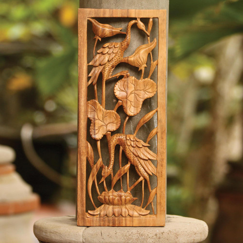 Hand Made Suar Wood Bird Relief Panel 'Herons in a Lotus Pond'