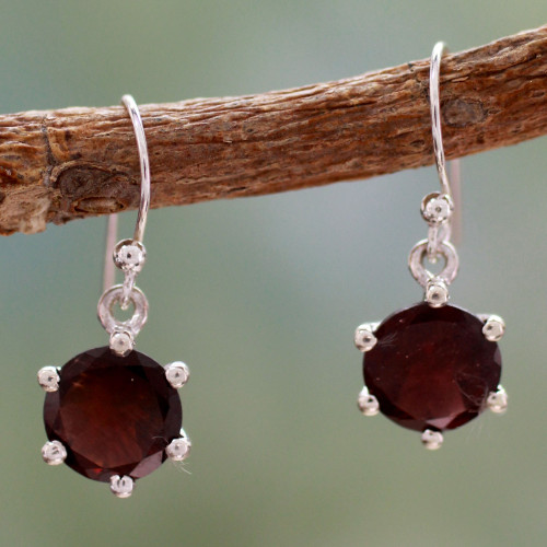 Handcrafted Sterling Silver and Garnet Earrings 'Scarlet Solitaire'