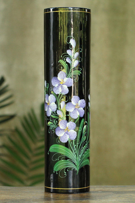 Thai Lacquered Wood Decorative Vase Hand Painted Orchids 'Vanda Orchid'