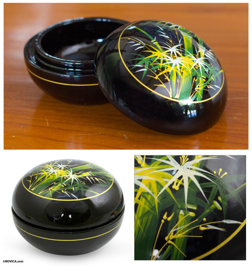 Thai Lacquered Wood Round Decorative Box Handpainted Bamboo 'Whispering Bamboo'