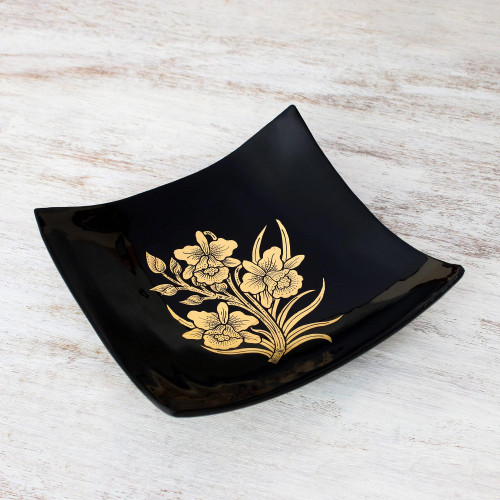 Thai Lacquer Ware Artisan Crafted Decorative Bowl Gold Leaf 'Golden Thai Orchids'