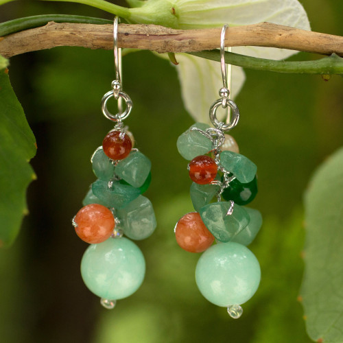 Handcrafted Pearl Carnelian Quartz Cluster Earrings 'Lemongrass'