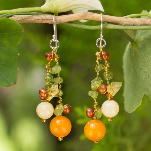 Pearl Peridot Quartz Cluster Earrings 'Citrus Party'