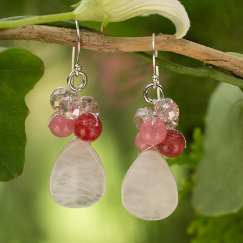 Handcrafted Thai Quartz Cluster Earrings 'Pink Rose'