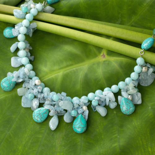 Artisan Crafted Pearl Aquamarine Blue Calcite Necklace 'Cool Beauty'