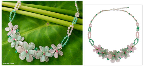 Rose Quartz and Aventurine Floral Necklace 'Spring Floral'