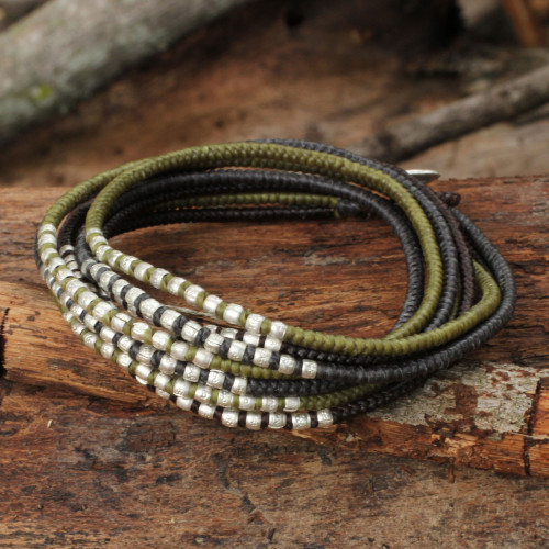 Brown Khaki Grey Wrap Bracelet with Silver Accents 'Karen Khaki Chic'
