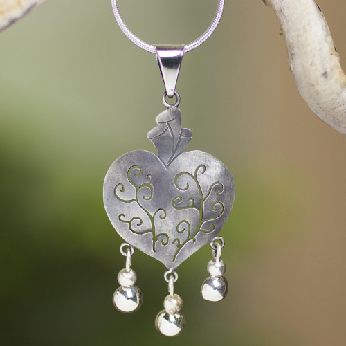 Artisan Crafted Necklace Taxco Sterling Silver Jewelry 'Depth of Heart'
