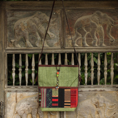 Hill Tribe Embroidery on Cotton Shoulder Bag with Leather 'Jade Rhythm'