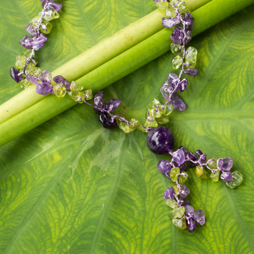 Peridot and Amethyst Beaded Necklace from Thailand 'Spring Iris'