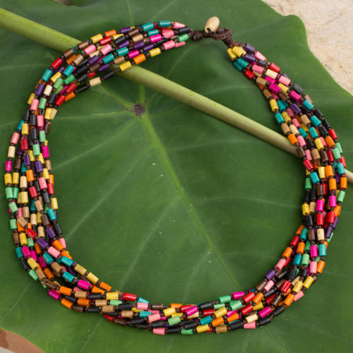 Wood Beaded Necklace in Rainbow Colors 'Chiang Mai Belle'