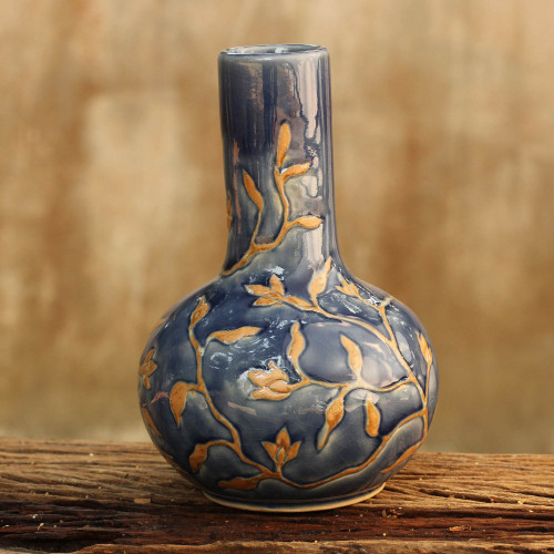 Classic Thai Blue Glazed Celadon Vase Crafted by Hand 'Lake Blooms'