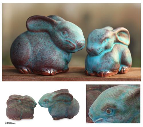 2 Celadon Ceramic Rabbit Figurines in Turquoise 'Bunny Rabbits'
