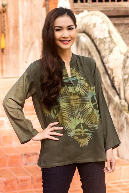 Women's Olive Green Cotton Batik Tunic 'Thai Forest Wind'