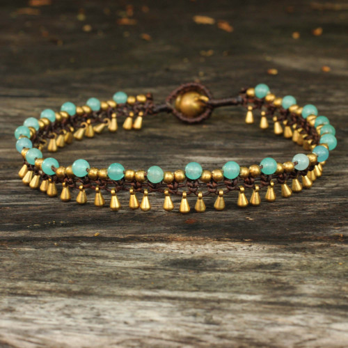 Brass Anklet Blue Quartz Artisan Crafted Jewelry 'Blue Dancer'