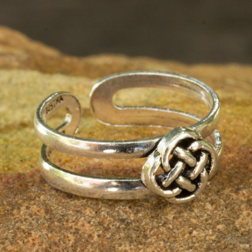 Lucky Knot Toe Ring Sterling Silver Artisan Jewelry 'Mandarin Walk'