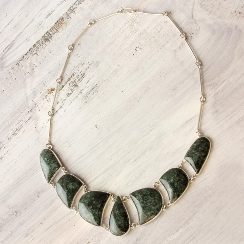 Jade and Sterling Silver Necklace Handmade Jewelry 'Uniqueness'