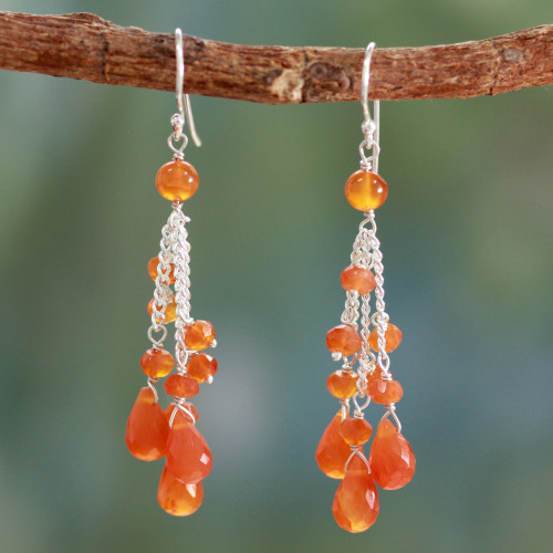 Carnelian Earrings 'Fiery Cascade'