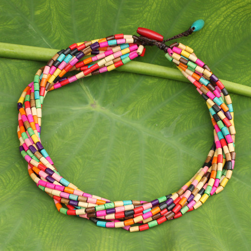 Artisan Crafted Wood Beaded Necklace in Rainbow Colors 'Phuket Belle'