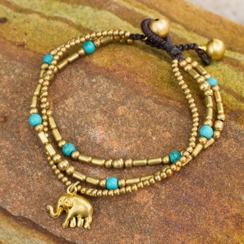 Brass Bracelet Turquoise-color Gems Beaded Jewelry 'Thai Elephant Charm'