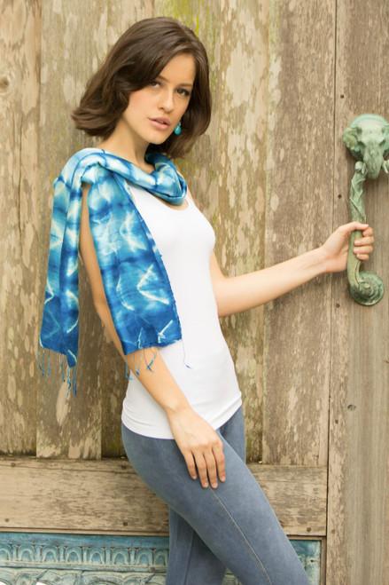 Silk Tie Dye Scarf from Thailand 'Azure Mystique'