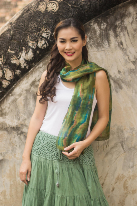 Tie Dye Green and Blue Silk Scarf from Thailand 'Green Thai River'