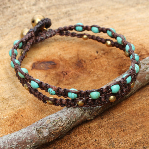 Brass Bracelet Turquoise-color Gems Braided Jewelry 'Aqua Boho Chic'
