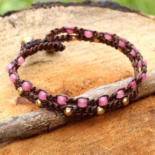 Brass Bracelet Pink Gems Braided Jewelry 'Pink Boho Chic'