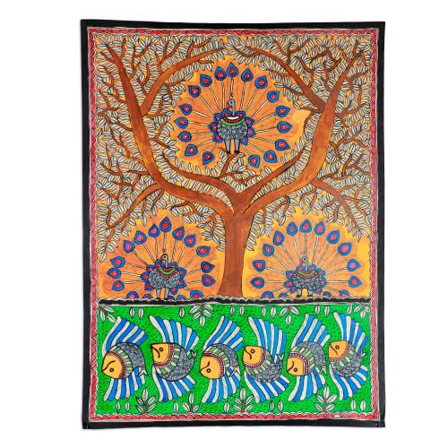 Madhubani Peacock Painting from India 'Mayura Tree of Life'