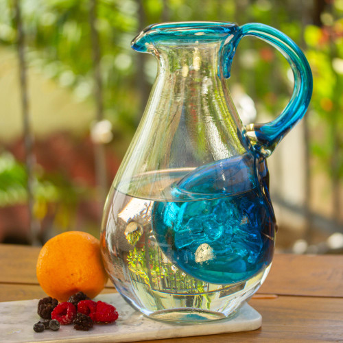 Hand Made Blown Glass Pitcher with Ice Chamber 'Fresh Caribbean'