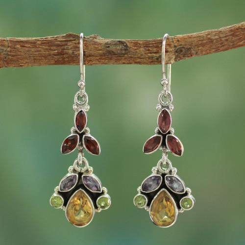 Artisan Crafted Multi-gemstone Earrings 'Tropical Elegance'