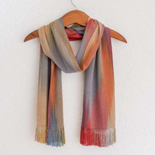 Rayon Chenille Scarf Woven by Hand 'Solola Afternoon'