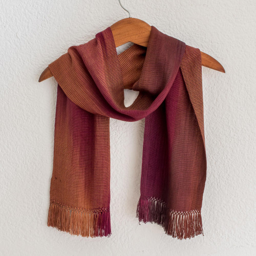 Handcrafted Rayon Chenille Scarf 'Solola Wine Cocoa'