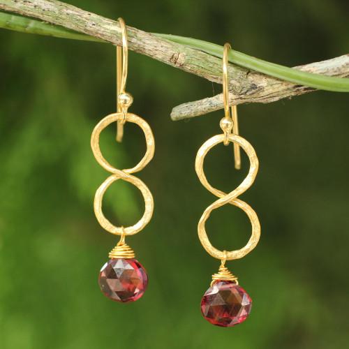 24k Gold Plated Garnet Dangle Earrings 'Red Infinity'