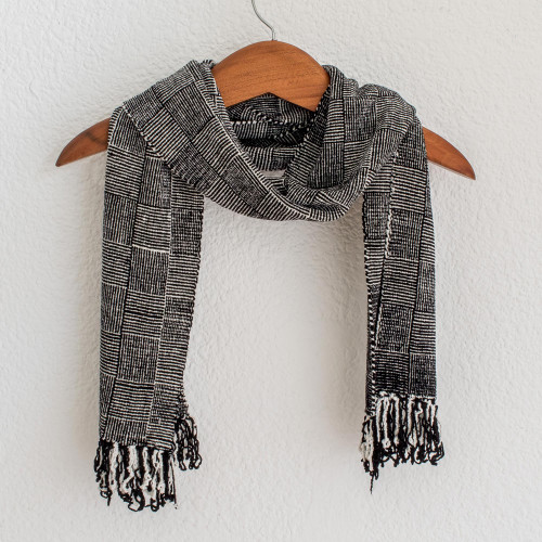 Black and White Handcrafted Rayon Chenille Scarf 'Monochrome Riddle'