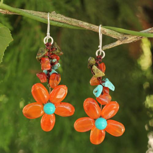 Carnelian Handcrafted Earrings 'Sunny Blooms'