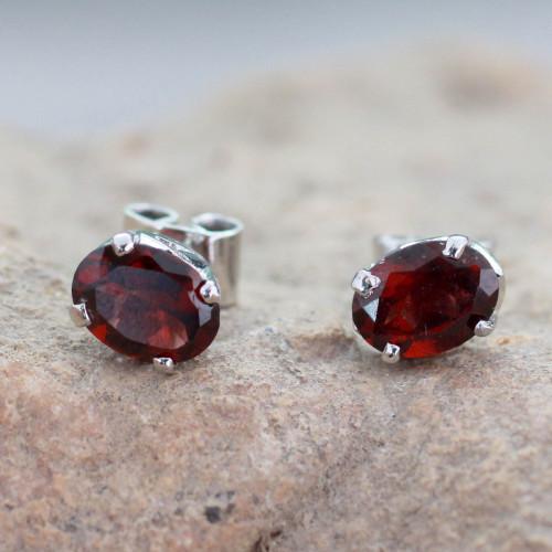 3 Carat Garnet Stud Earrings from India 'Scintillate'