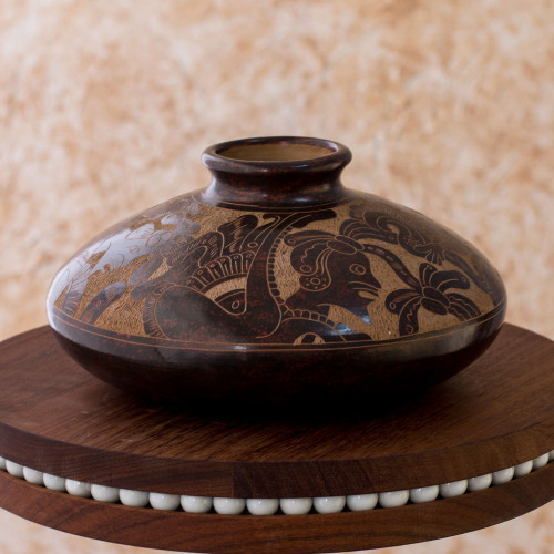 Maya Inspired Decorative Ceramic Vase Crafted By Hand 'New King'