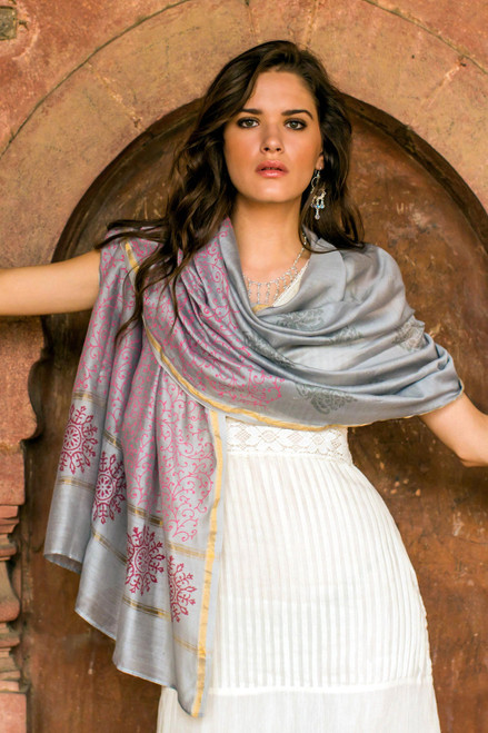 Pink on Gray Cotton and Silk Block Printed Shawl 'Fortune's Elegance'