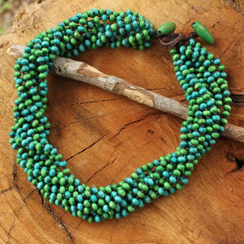 Blue Green Torsade Necklace Wood Beaded Jewelry 'Chao Phraya Belle'
