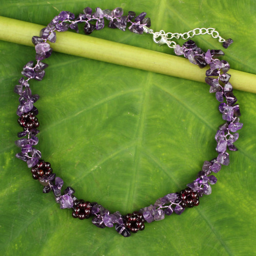Thai Handmade Amethyst Necklace with Garnet Clusters 'Heaven's Gift'