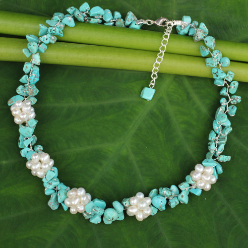 Handmade Pearl and Calcite Beaded Necklace 'Heaven's Gift'