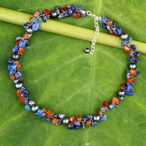 Hand Knotted Pearl Lapis Lazuli Carnelian Choker Necklace 'Luscious Chic'