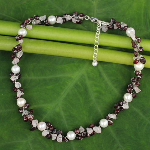Hand Knotted Pearl Garnet and Rose Quartz Choker Necklace 'Luscious Chic'