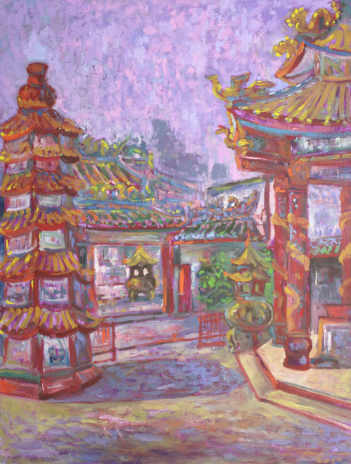 Chinese Thai Temple Signed Fine Art 'Pung Tao Kong'